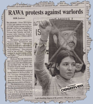 Reflection of RAWA demonstration in the Pakistan Observer