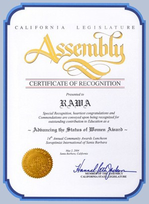 A certificate of recognition to RAWA from the California Legislature Assembly