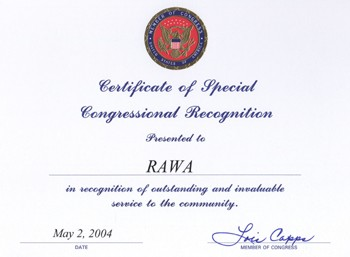 Certificate of special congressional recognition from the US congress to RAWA