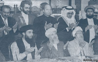 Najibullah Lafraei with Afghan fundamentalist leaders and their Arab, Pakistani and Irani master